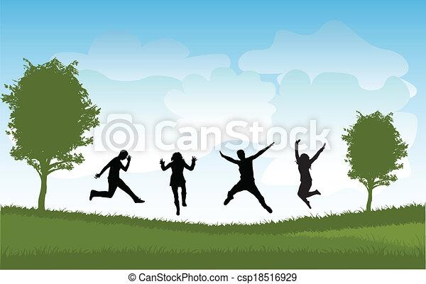 sauter, gens, groupe - csp18516929