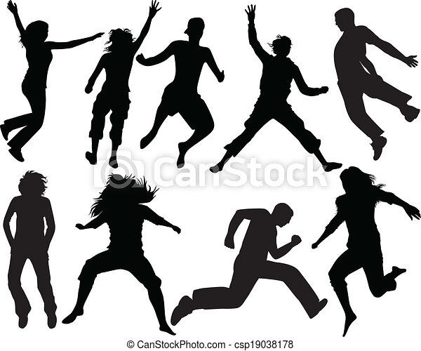 sauter, gens, silhouette - csp19038178