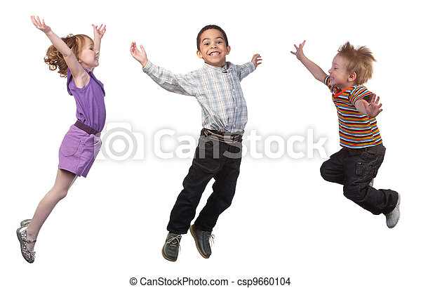 sauter, heureux, enfants - csp9660104