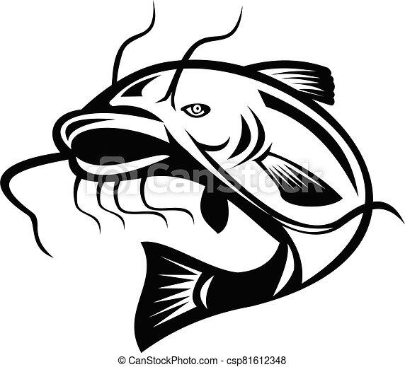 sauter, poisson-chat, blanc, retro, noir - csp81612348