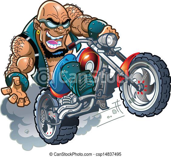 Dessin De Motard sauvage, motard, chauve, mec. fou, lunettes soleil, chauve, mec