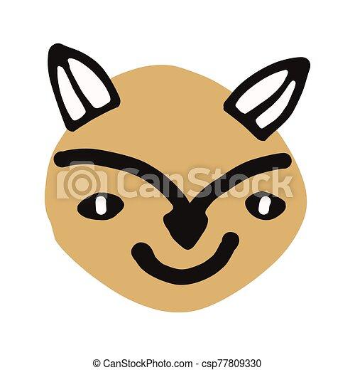 sauvage, plat, main, vecteur, dessiné, naïf, vulpes, color., à poil, mignon, kawaii, eps, 10., foxy, wildlife., renard, illustration, clipart., forêt, isolé, griffonnage, vulpes., animal, chasseur, vulpine - csp77809330
