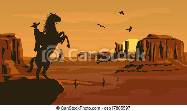 sauvage, prairie, west., illustration - csp17805597