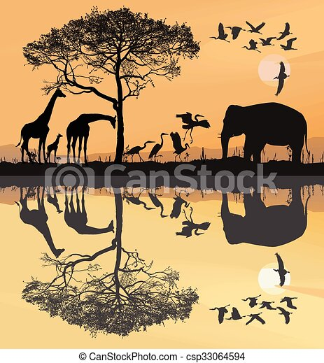 Savana with giraffes, herons and elephant - csp33064594