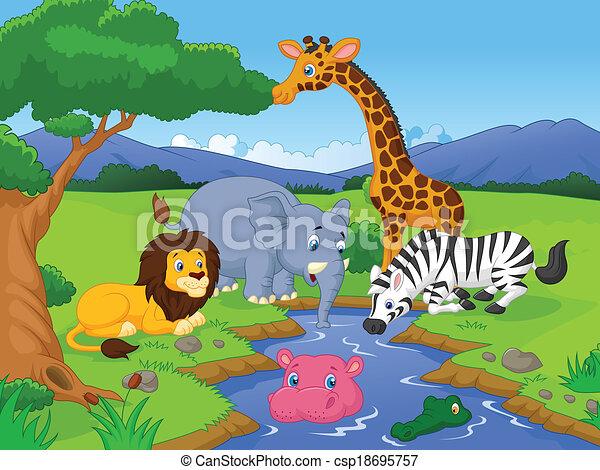 savane, dessin animé, anima, paysage - csp18695757