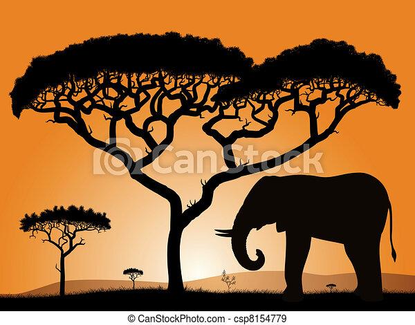 Savane elephant sky savane arbres l phant - Savane dessin ...