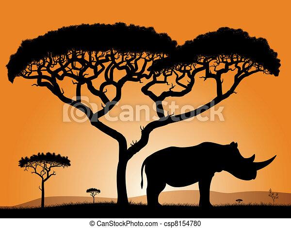 Savannah - rhino.  - csp8154780