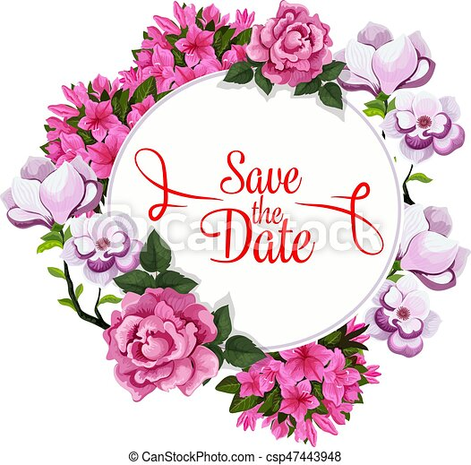 save date wedding greeting vector floral template save the date