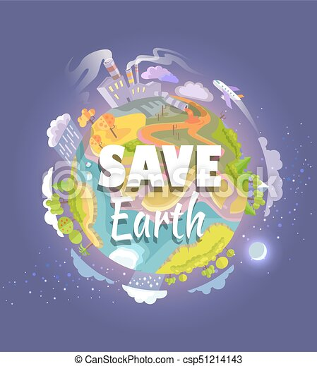 save earth agitation poster with planet space view csp51214143