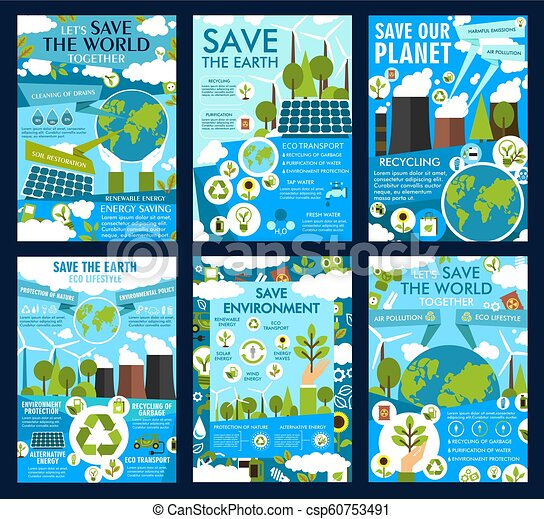 Save Earth And Green Eco Planet Vector Posters Save Earth