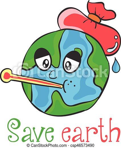 save earth cartoon design style csp46573490