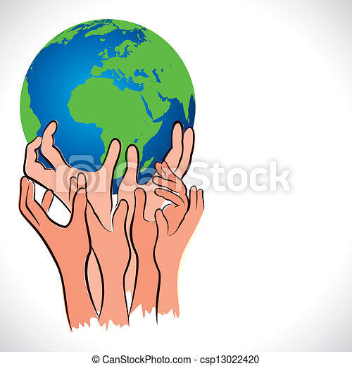 save earth concept shown by hand stock vector vector illustration rh canstockphoto com Save the Earth Quotes Save the Earth Logo