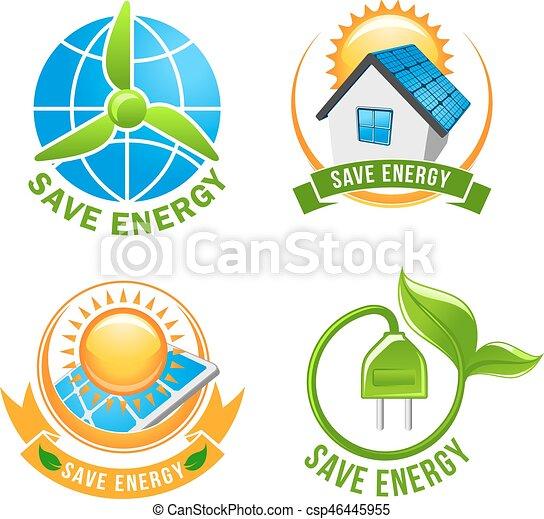 Save Energy Solar Wind Eco Power Symbol Set Save