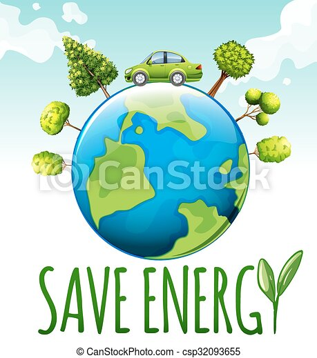 save energy theme with car and trees illustration Save the Earth for Students Planet Earth Clip Art