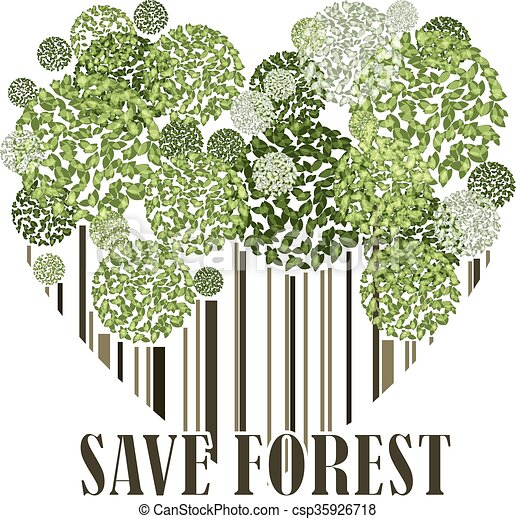 save forest ecology green postcard in the heart shape vector