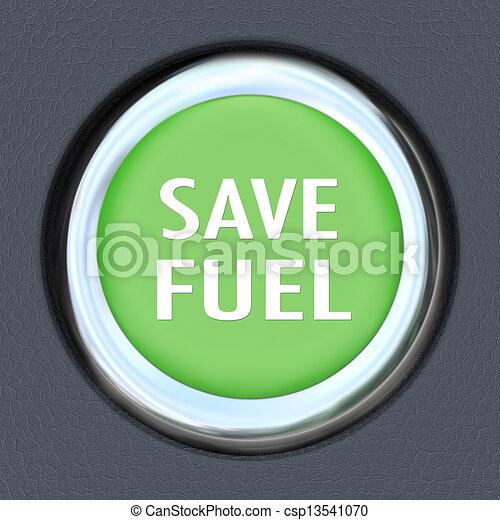 Save Fuel Green Car Start Button Saving Gasoline