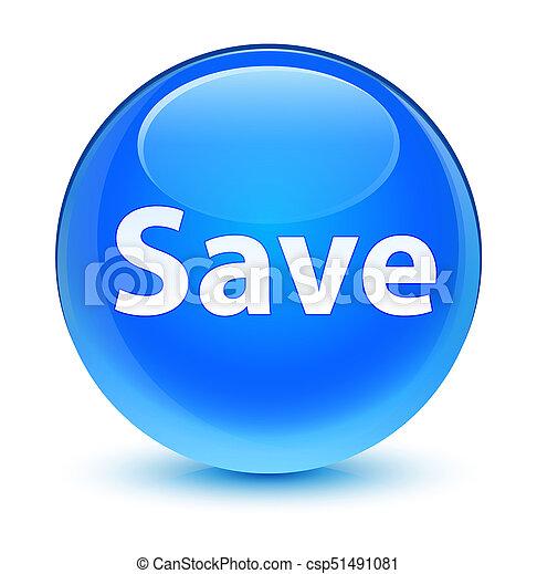 Save glassy cyan blue round button - csp51491081