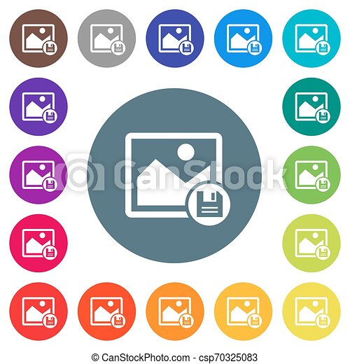 Save image flat white icons on round color backgrounds - csp70325083
