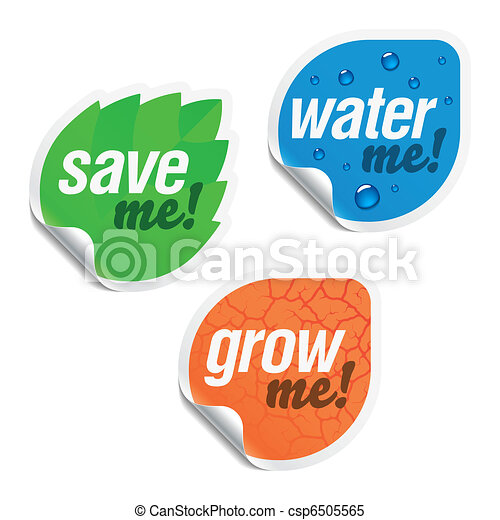 Save me, water me, grow me stickers - csp6505565
