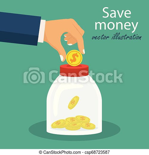 Save money concept. Vector illustration in flat design. - csp68723587