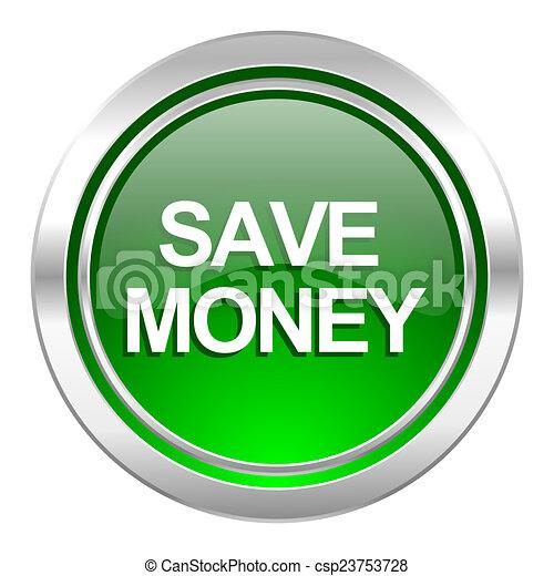 save money icon, green button - csp23753728