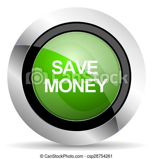 save money icon, green button - csp28754261