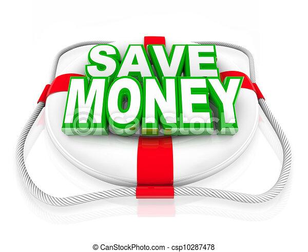 Save Money Life Preserver Budget Rescue Sale - csp10287478