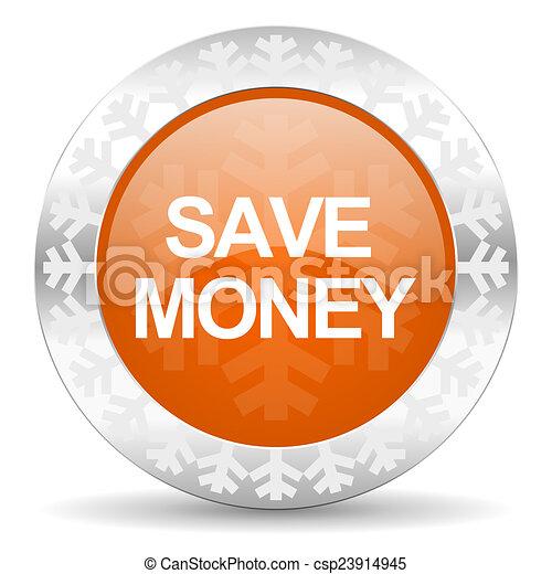 save money orange icon, christmas button - csp23914945