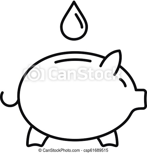 Save Piggy Bank Water Icon Outline Style Save Piggy Bank Water