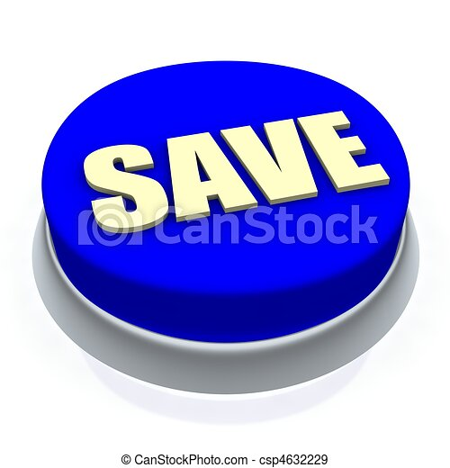 Save round button 3d. Isolated on white. - csp4632229