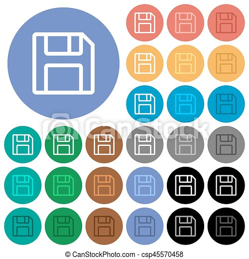 Save symbol round flat multi colored icons - csp45570458