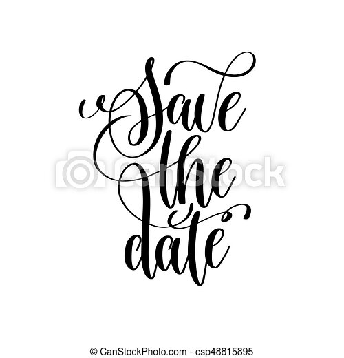 save the date black and white handwritten lettering eps vectors rh canstockphoto com