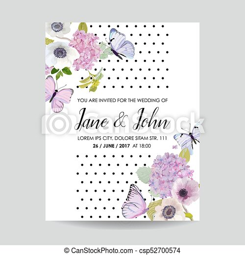 Save The Date Card Wedding Invitation Template Botanical With Hydrangea Flowers And Butterflies Greeting Floral Postcard Vector Illustration
