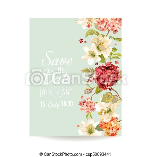 save the date card with autumn vintage hortensia flowers for wedding