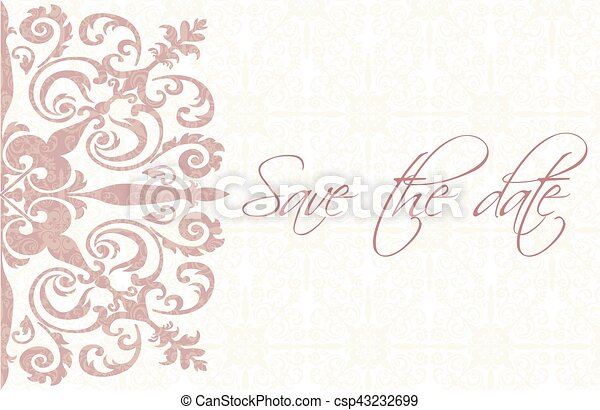 save the date card with ornaments save the date card with damask