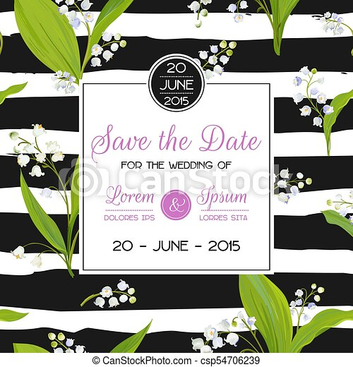 Save The Date Card With Spring Lily Of The Valley Flowers Wedding
