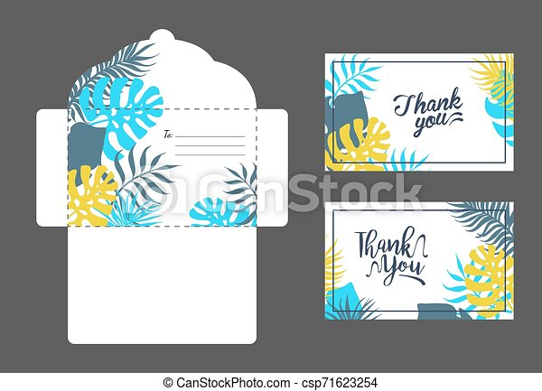 Save The Date Elegant Wedding Invitation Templates Set Thank You Rsvp Cards And Envelope With Exotic Tropical Leaves Vector Illustration