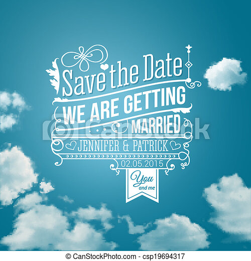 Save the date for personal holiday. Wedding invitation. Vector image.  - csp19694317