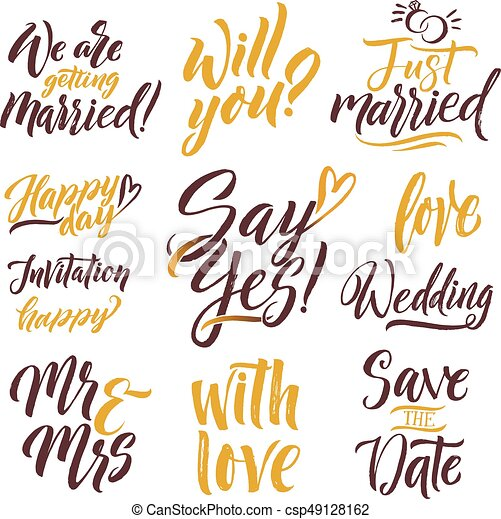 save the date hand drawn letters lettering set with different words of invitation
