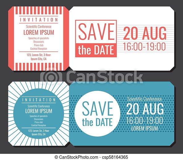 Save The Date Minimalist Invitation Ticket Vector Design Wedding Cards Modern Template
