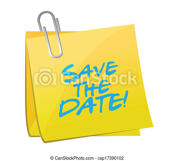 save the date post it illustration design - csp17390102
