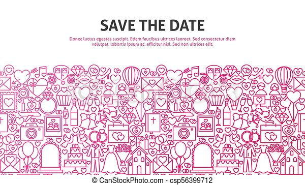Save The Date Web Concept Vector Illustration Of Line Website