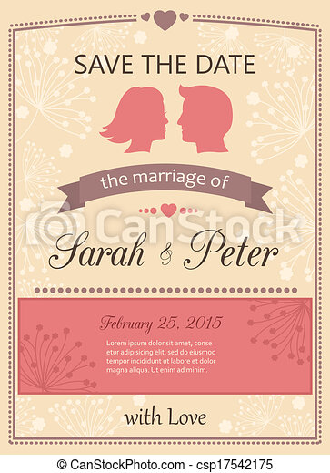 Save the date wedding invitation card template vector illustration save the date wedding invitation card csp17542175 stopboris Choice Image