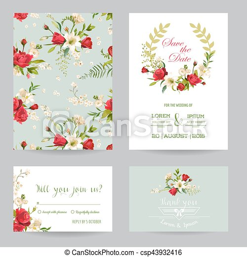 save the date wedding invitation or congratulation card set rose
