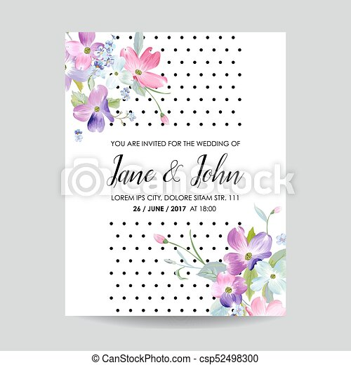 Save the date wedding invitation template with spring vector save the date wedding invitation template with spring dogwood flowers romantic floral greeting card stopboris Image collections