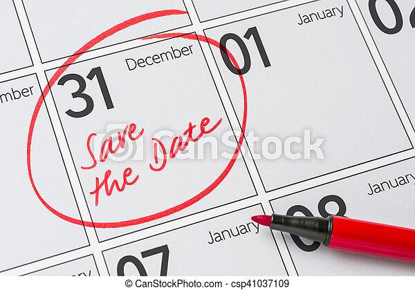 Save The Date Written On A Calendar December 31