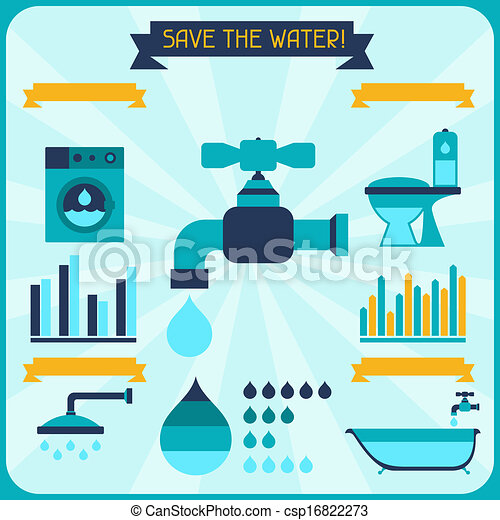 Save the water. Poster with infographics in flat style. - csp16822273
