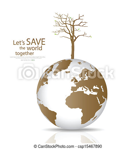 Save the world, Dry tree on a deforested globe. Vector illustration - csp15467890