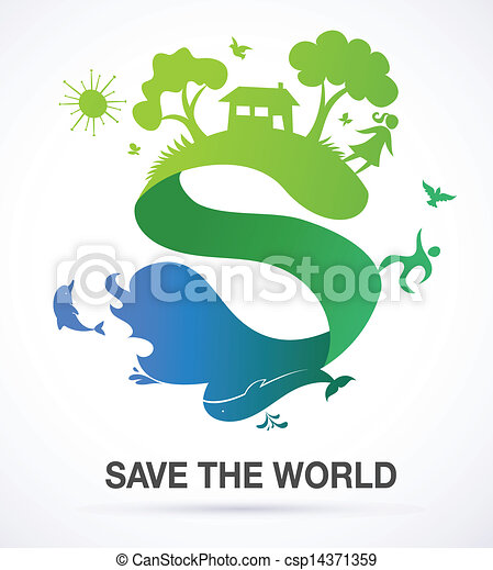 Save The World   Nature And Ecology Background With S Icon   Csp14371359