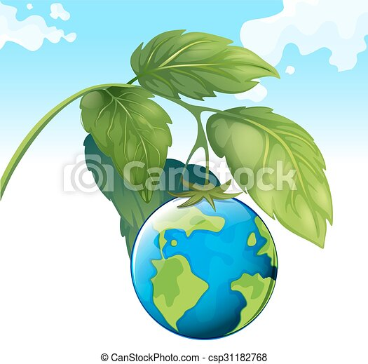 Save The World Theme With Earth And Plant   Csp31182768